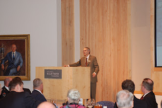 Photo: Robert Litan, vice president for Research and Policy at the Ewing Marion Kauffman Foundation, speaks to attendees and introduces the summit's opening guest speaker.
