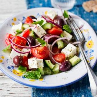 Greek Salad With Fried Feta Cheese.