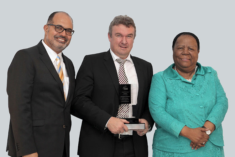 Science and Technology Minister Naledi Pandor (right) poses with winners at the 2016 TT100 Business Innovation Awards. Picture: GORDON HARRIS PHOTOGRAPHIC