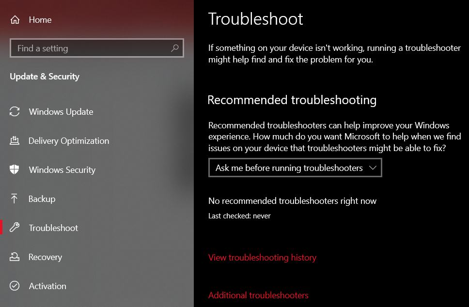 click on the Additional Troubleshooters button