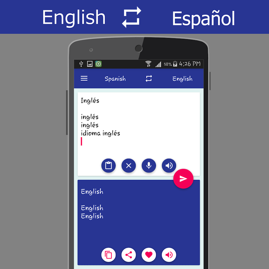 English spanish translator screenshot