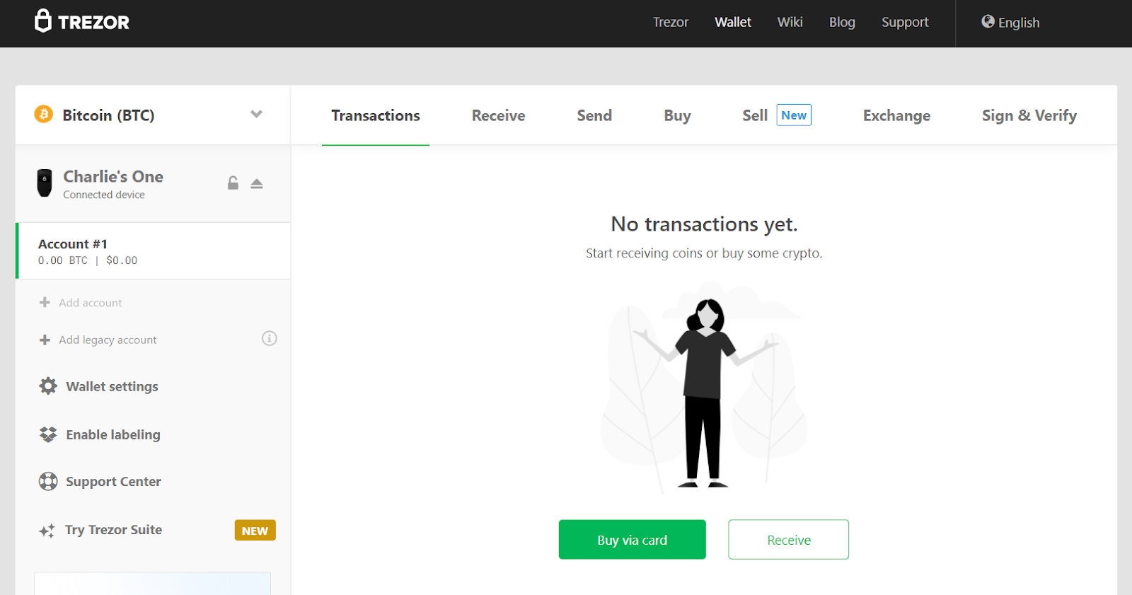 Screenshot on showcasing on how to receive crypto on the Trezor Model T.