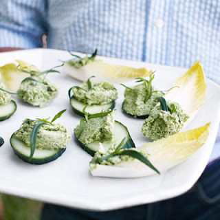 Edamame-Ricotta Spread on Endive and Cucumber