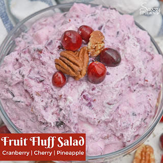 Fruit Fluff Salad with Cranberry Cherry and Pineapple.