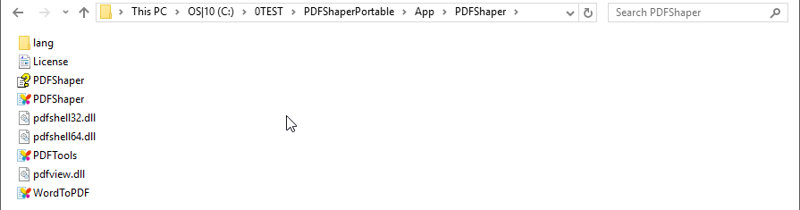PDFShaper folder contents...