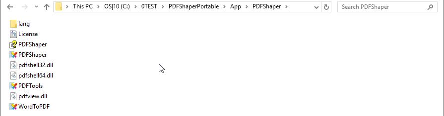 PDFShaper folder contents...