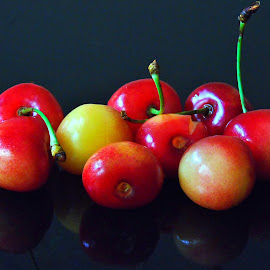 SWEET CHRRIES by Wojtylak Maria - Food & Drink Fruits & Vegetables ( fruits, cherries, juicy, sweet, delicious, food, yellow and red )