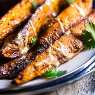 Grilled Maple Tahini Sweet Potatoes [Vegan]