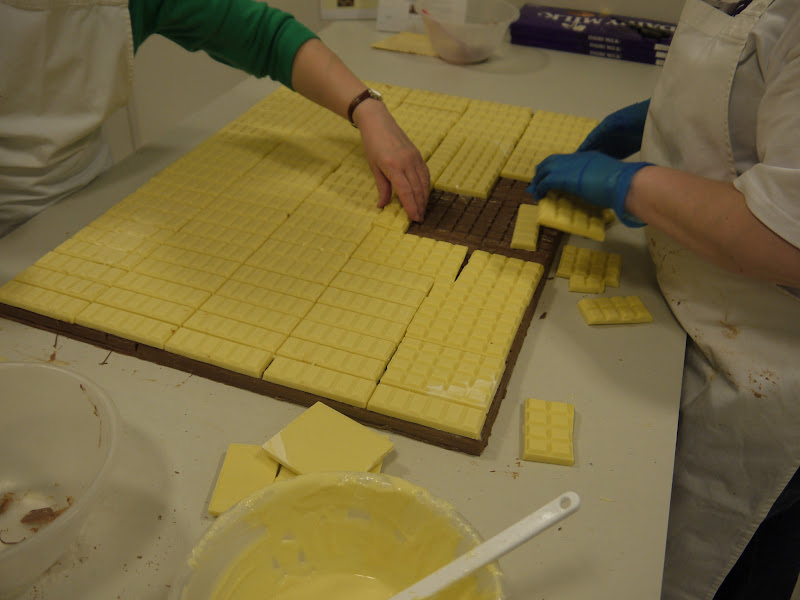 Photo: Building up a layer of Cadbury Dream for the background