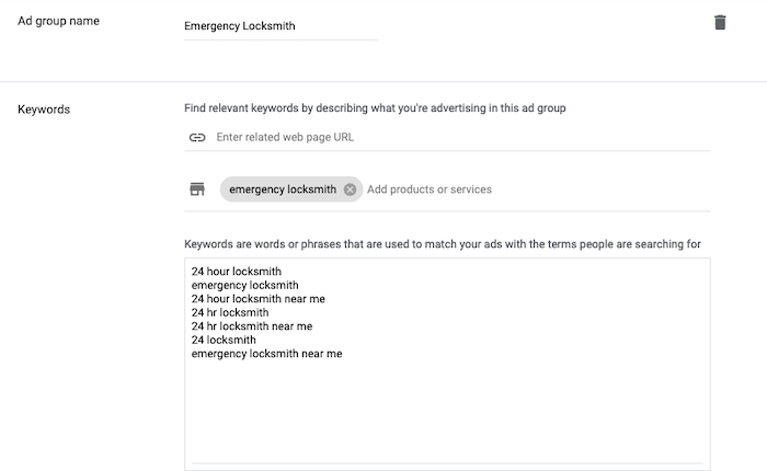 How to Create Call-Only Ads on Google - Emergency Locksmith example
