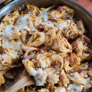 Cheesy Skillet Tortellini with Meat Sauce.