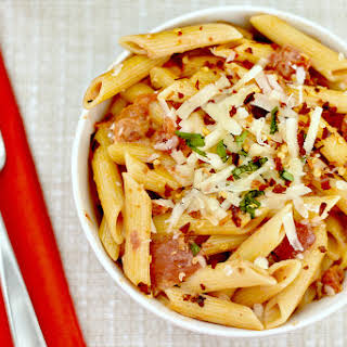 Penne with Spicy Vodka Tomato Cream Sauce.