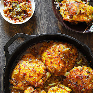 Easy White Wine Chicken with Bacon.