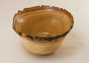 "Photo: Joe Barnard 6"" x 4"" natural edge bowl [Chinese chestnut]"