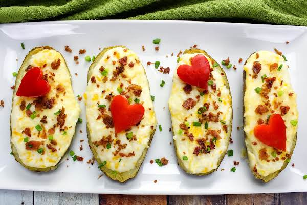 Twice Baked Potatoes For Valentine's Day With A Heart On Top.