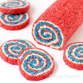 Red, White and Blue Rice Krispie Treat Pinwheels.