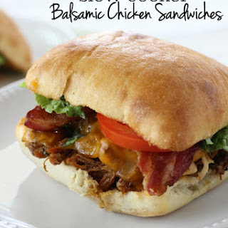 Slow Cooker Balsamic Chicken Sandwiches