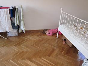 Photo: A grumpy toddler falling asleep from a tantrum.