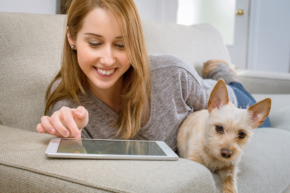 Tablet, Living Room, Dog, Woman, Girl, Relax, Activity