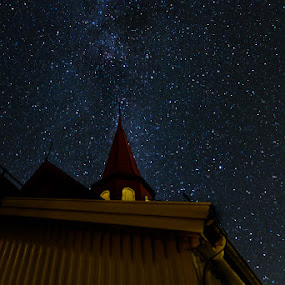 In the night by Tommy Johansen - Buildings & Architecture Public & Historical ( nightpicture, milkyway, stars, longexposure, curch )