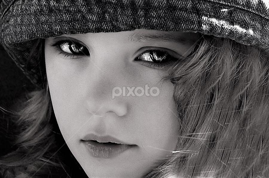 Those Eyes B&W by Cheryl Korotky - Black & White Portraits & People