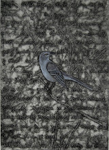 "Photo: Mockingbird, 15 x 11"", collagraph with hand coloring"