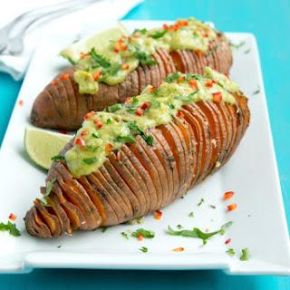 Hasselback Sweet Potatoes with Guacamole