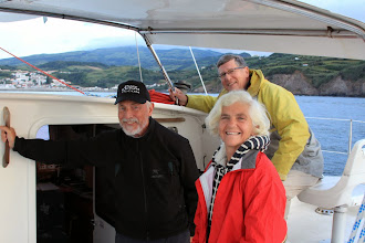 Photo: Approaching Faial, Horta in calm conditions. Andrew, Diana and Frode are very happy to be here!