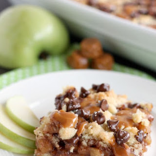 Chocolate Caramel Apple Crumb Bars