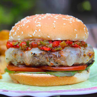El Diablo Burgers with Charred Chile Pepper Relish