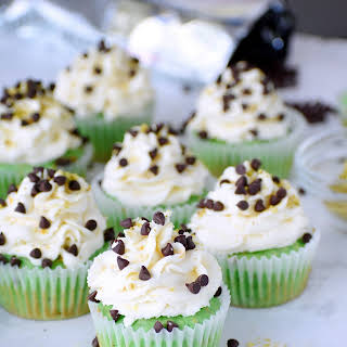 Pistachio Cupcakes with Cannoli Frosting.