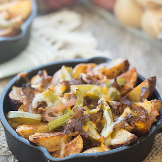 Skillet Philly Cheesesteak Potato Wedges