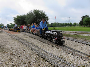 Photo: Doug Blodgett takes his first load of passengers around the track.     HALS Public Run Day 2015-0516 9:14 AM RPW