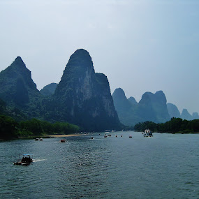 Guilin, China by Megan Whitehead - Landscapes Mountains & Hills ( mountains, guilin, river, china )