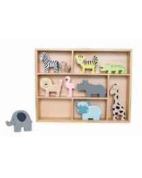 Shelfs with safari animals
