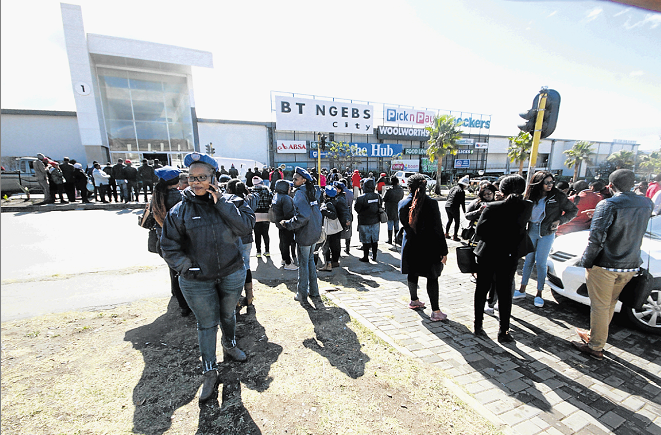 IN SHOCK: Hundreds of workers and shoppers were evacuated from the BT Ngebs Mall in Mthatha after a fake bomb scare on Friday.