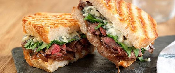 Grilled Skirt Steak Panini With Blue Cheese Recipe