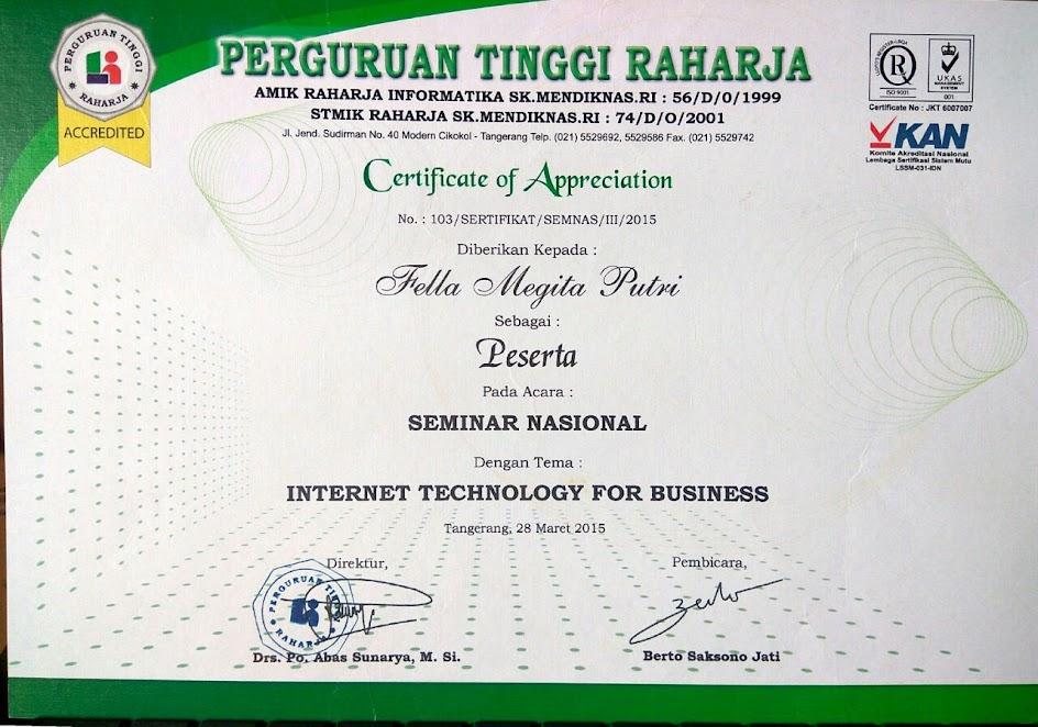 Piagam Sertifikat Seminar Workshop Training It