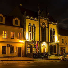 Neo-Gothic town hall in Chřibská, Czech Republic by Petr Musil - Buildings & Architecture Architectural Detail ( moon, hall, neogotic, night, town )