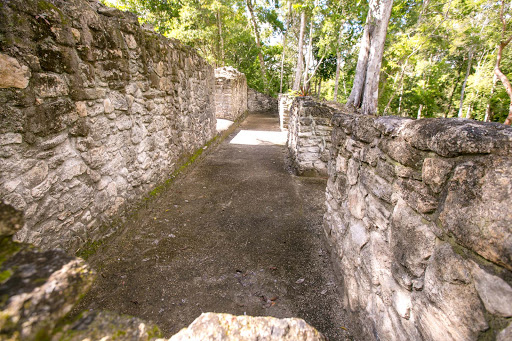 dzibanche-pathway.jpg - Part of the royalty house at Edifice 11 at Dzibanche in Mexico's Costa Maya region.