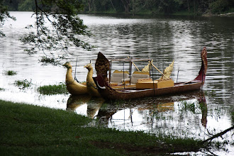 Photo: Year 2 Day 44 -  Boat on a Lake at the South Gate Entrance to Angkor Thom
