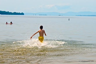 Photo: Running into the water at Alburgh Dunes State Park by Amy Chess