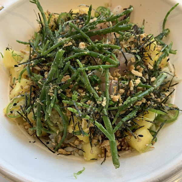 Pineapple Basil Yellowtail with Yusu Basil Sauce