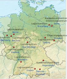 Karte: Standorte von Amazon in Deutschland.