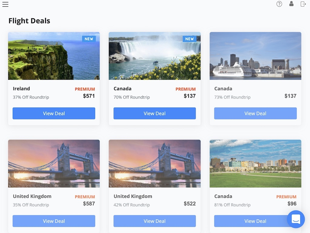 Dollar Flight Club's membership dashboard displays all the airfare deals that are currently available
