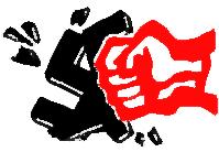 Rote Faust zerschmettert Hakenkreuz.