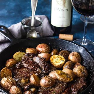 Steak and Mushroom Skillet with Chianti Wine Caramel Sauce.