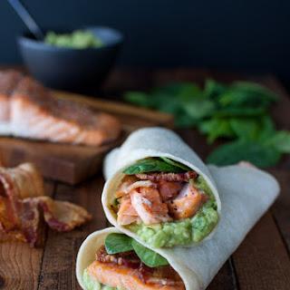 Salmon, Guacamole, and Bacon Wraps.