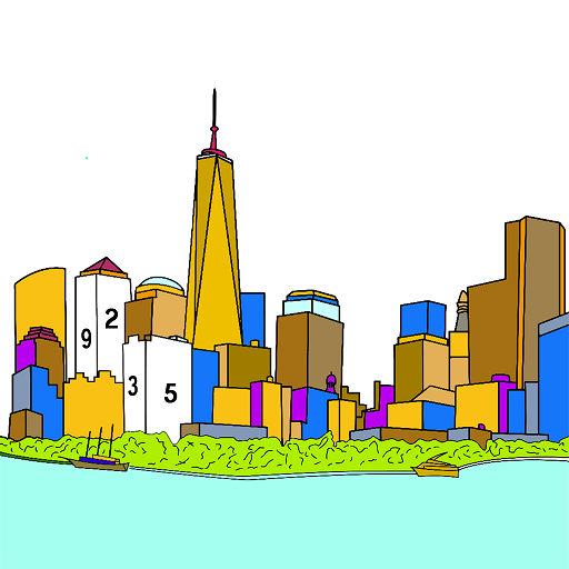 Cities Color by Number: Nation Coloring Book Pages Icon