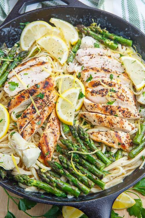 """Creamy Lemon Grilled Chicken, Asparagus and Artichoke Pasta """"This creamy lemon grilled..."""